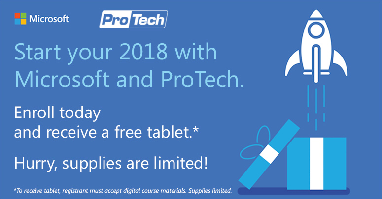 ProTech Microsoft Tablet Special Expanded to ANY Microsoft Course Registration!